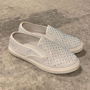 Crystal studded slip-on sneakers